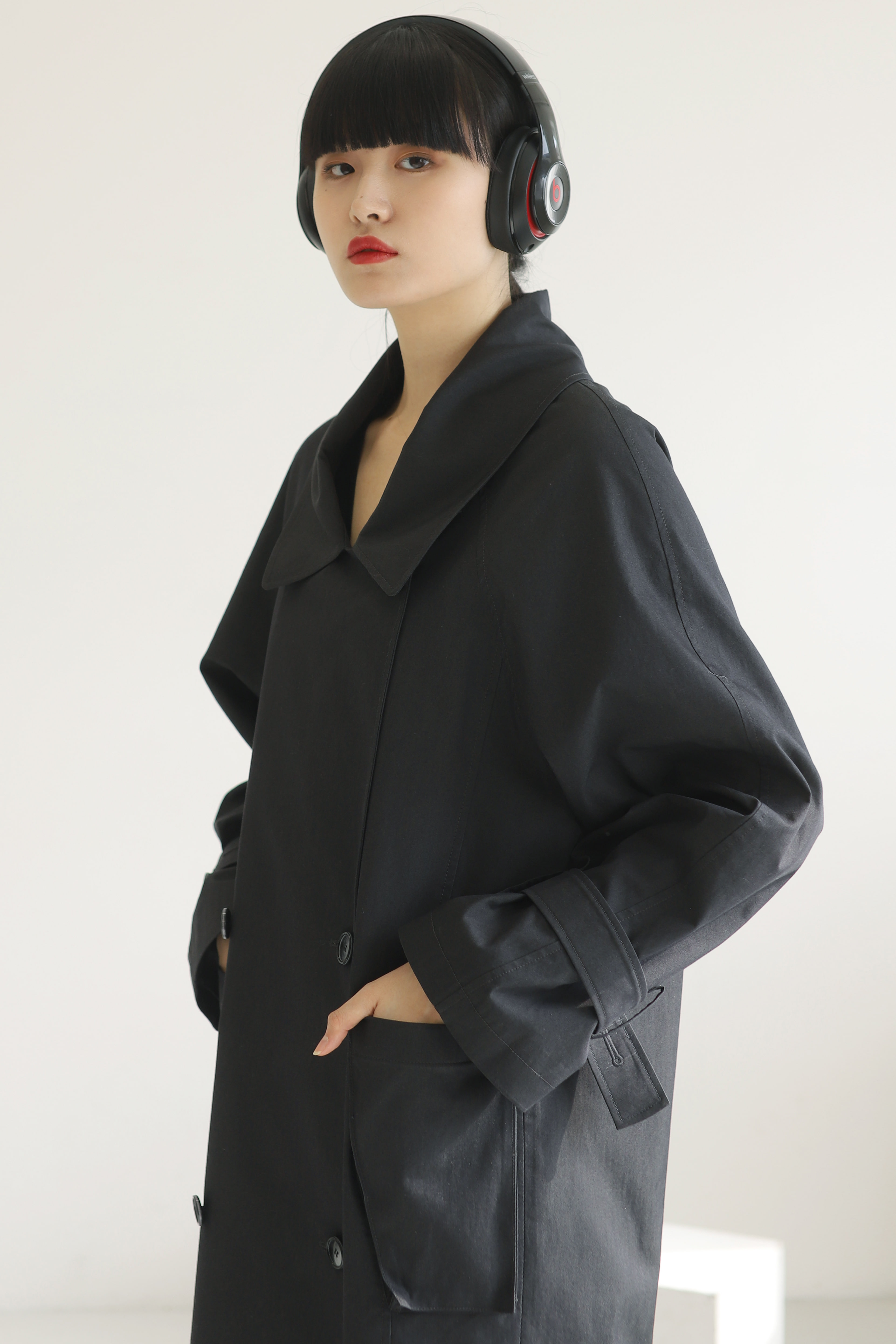 OVER LONG TRENCH COAT_Cotton Charcoal / Out of Stock