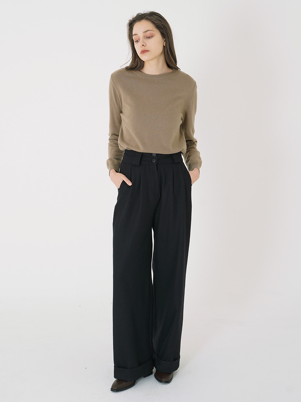 WOOL WIDE LONG PANTS_Black