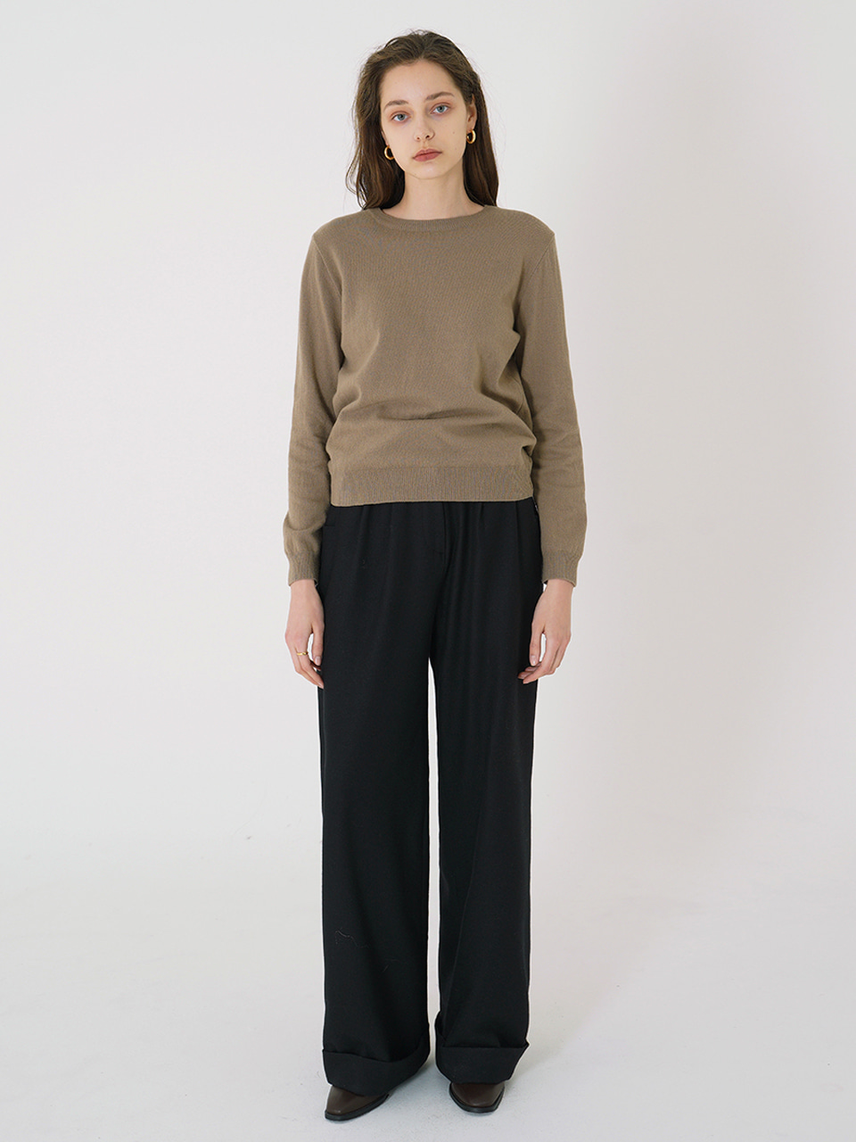 CASHMERE MINIMAL KNIT_Brown / Out of Stock