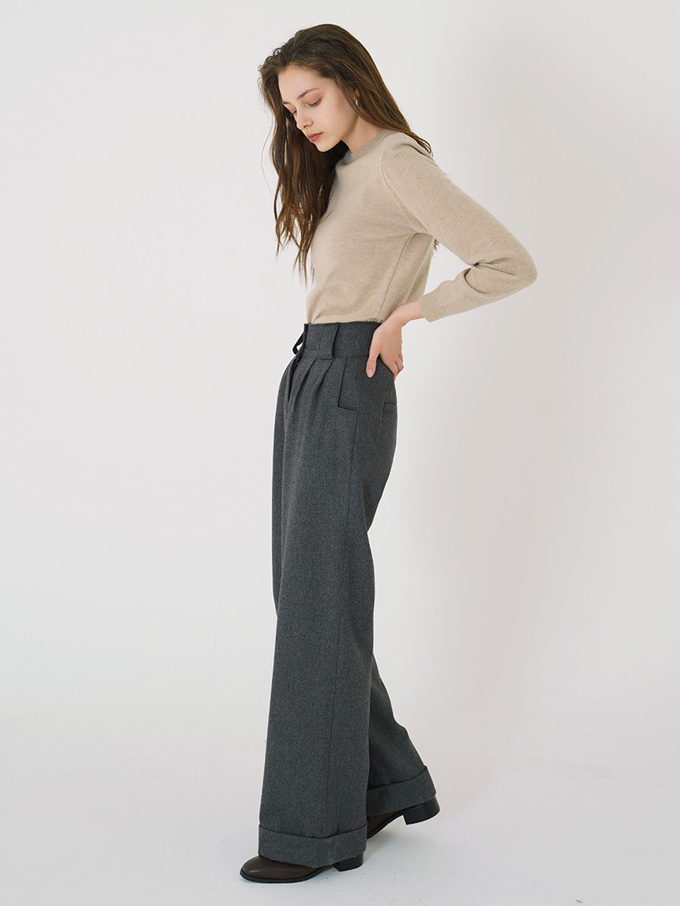 WOOL WIDE LONG PANTS_Gray