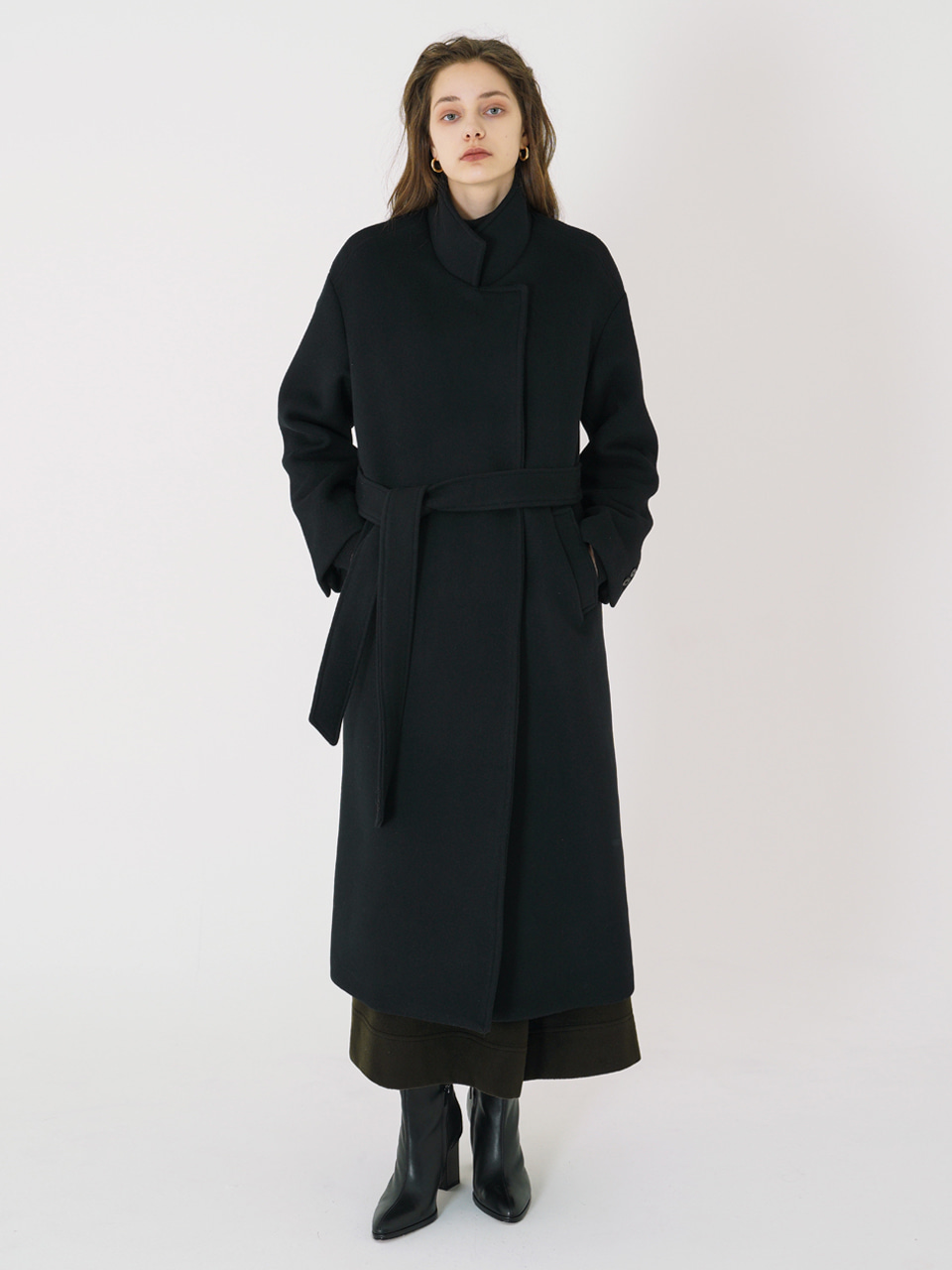 HIGH NECK LONG COAT_Black / Out of Stock
