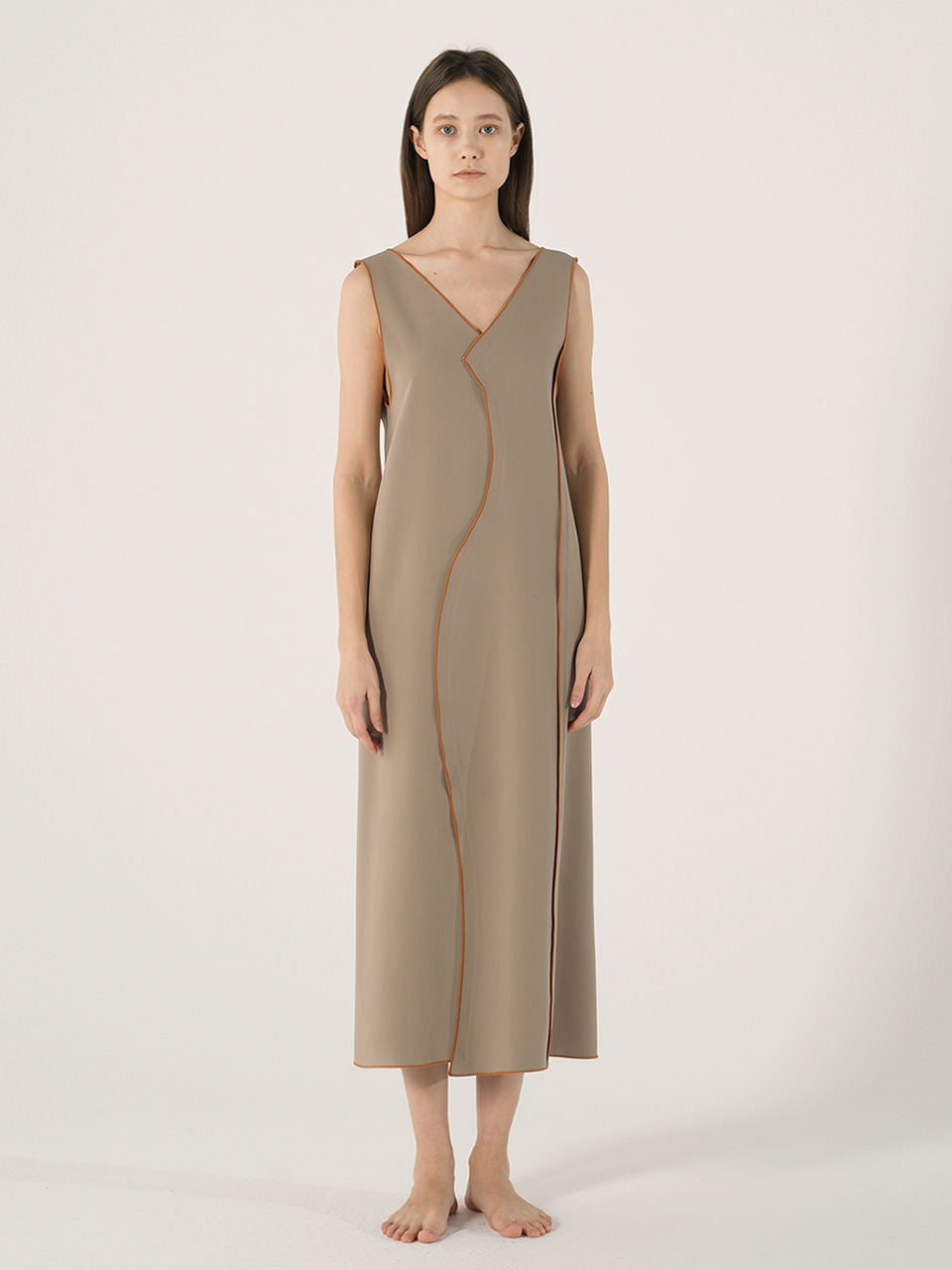 WAVE LINE LONG DRESS_Beige