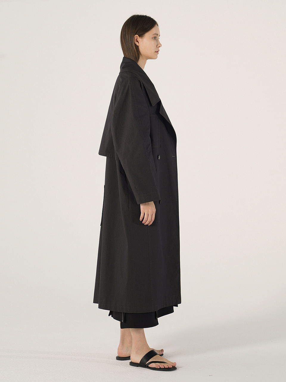 POCKET TRENCH COAT_Charcoal