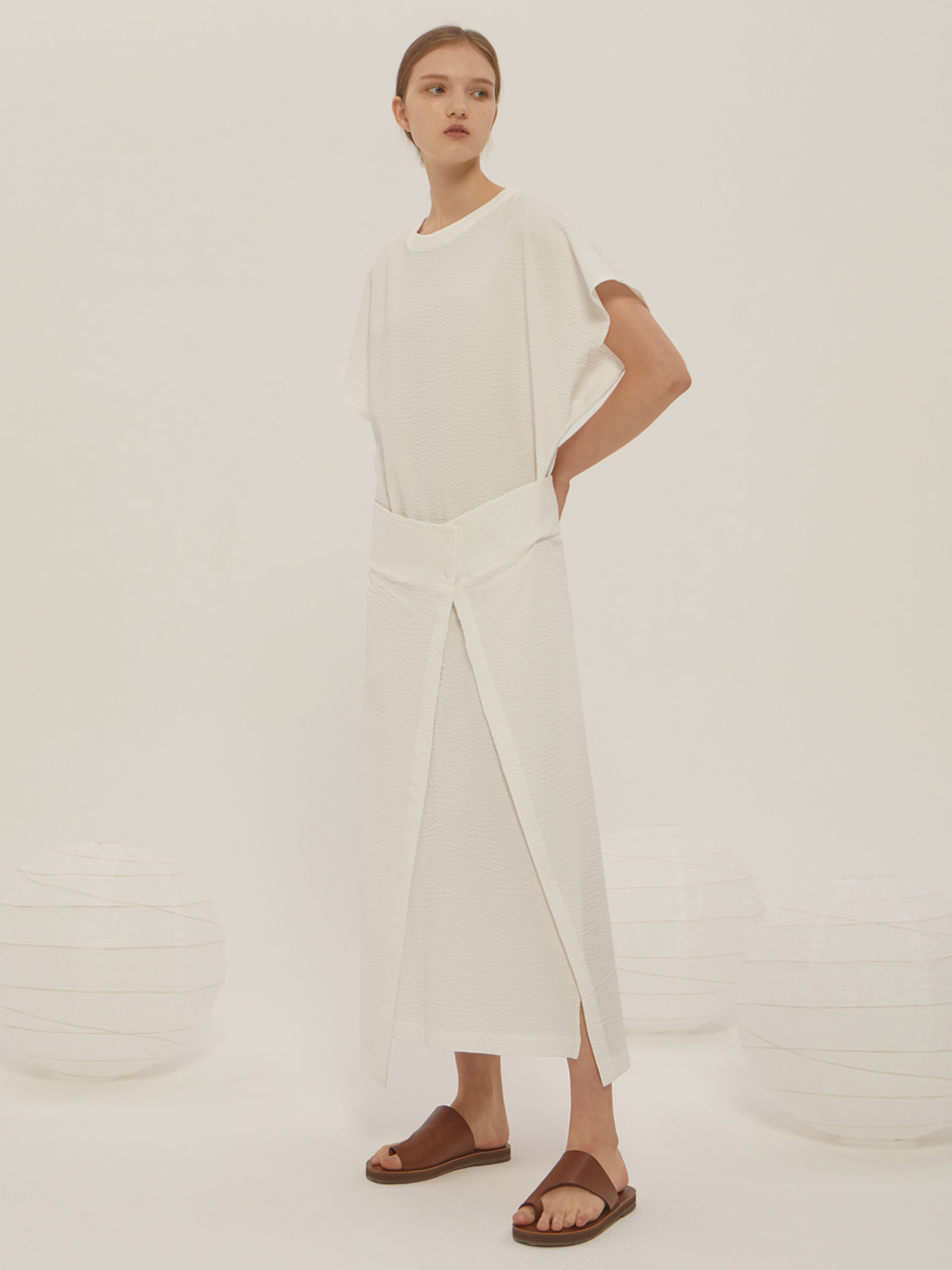 SEERSUCKER WRAP DRESS_Ivory